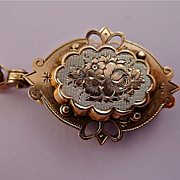 Antique Victorian 14k Rose Gold & Chalcedony Chased Fob Locket