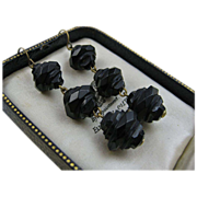 Victorian Whitby Jet Hand-Carved Mourning Earrings c1870s