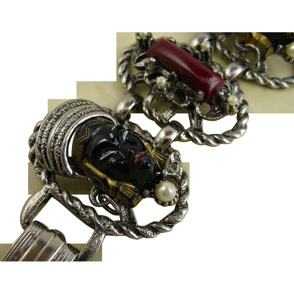 Selro 1950's Blackamoor Demi Bracelet & Earrings - Super Condition