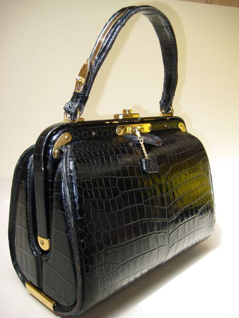 Rare French Lederer de Paris Vintage Porosus Crocodile Handbag 1950's ~ 60s