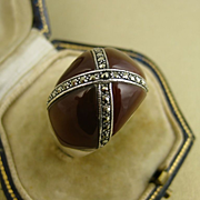 Art Deco Vintage Sterling Carnelian and Marcasite Dome Ring c1925 - 1930