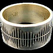 Finland Vintage Artist Silver Modernist Ring c1970