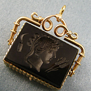 Antique 14ct Gold Sardonyx Onyx Intaglio Locket Fob ~ Demeter ~ c1820-1840