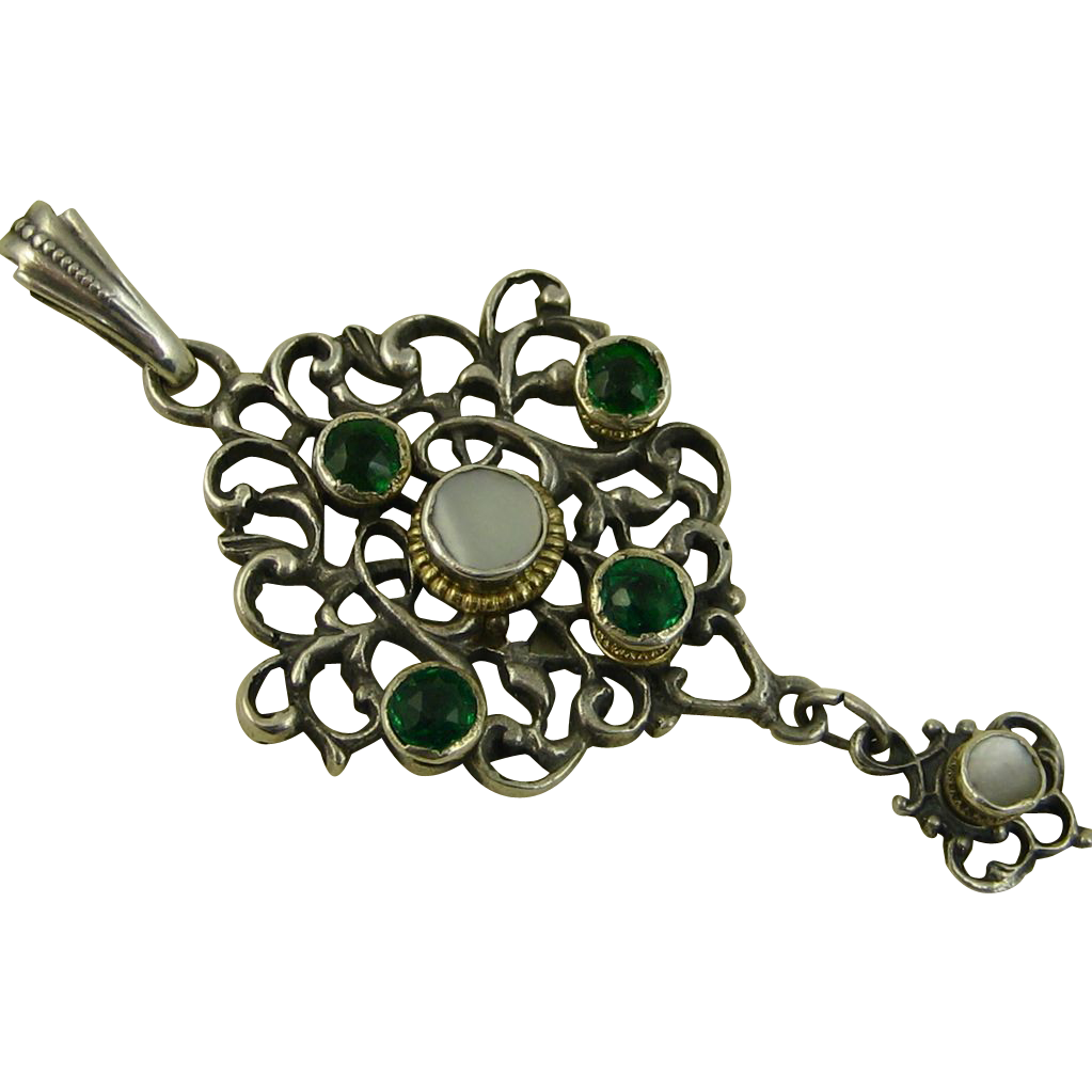Art Nouveau ~ Jugendstil Silver Pendant ~ Green & Pearl Stones ~ c1890