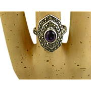 Vintage Silver Ring ~ Amethyst, Marcasites ~ c1960s