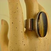 Vintage Modernist N. E FROM Sterling & Tiger Eye Ring ~ 1960s