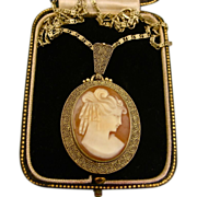 Art Deco Theodor Fahrner Cameo Sterling Vermeil Necklace & Chain ~ 1950s
