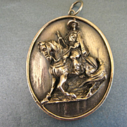 Vintage Henryk Winograd Fine Silver Spanish Conquistador Portrait Pendant ~ c1960s