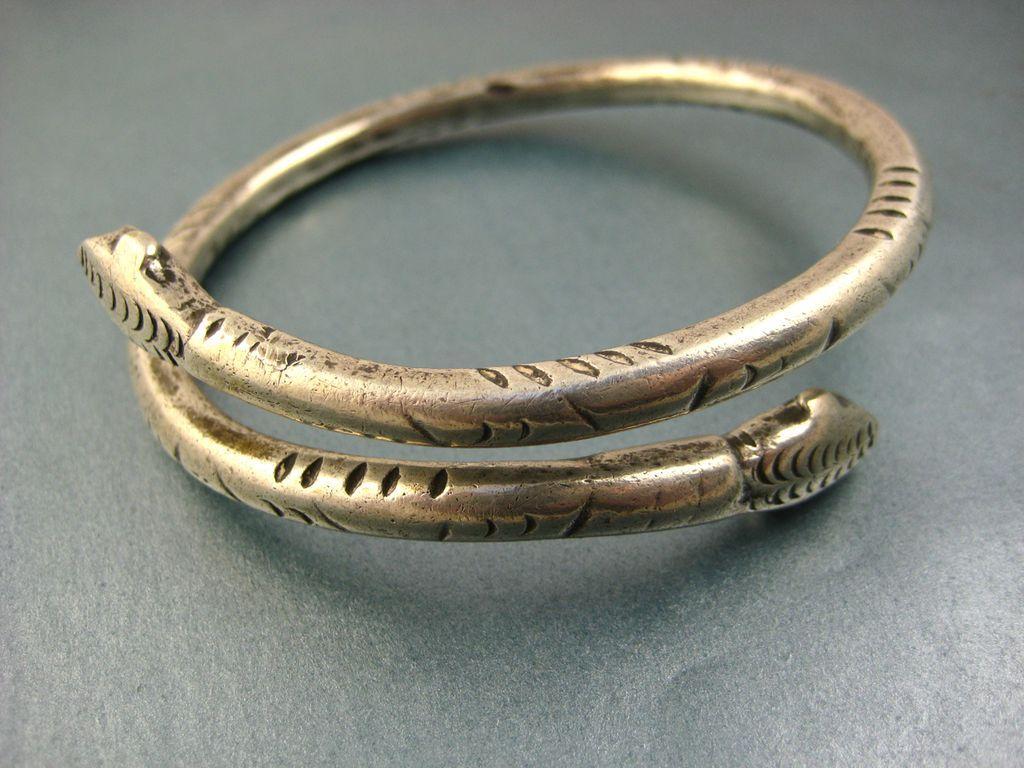 Superb Antique French Silver Snake Serpent Arm Bracelet ~ c1840