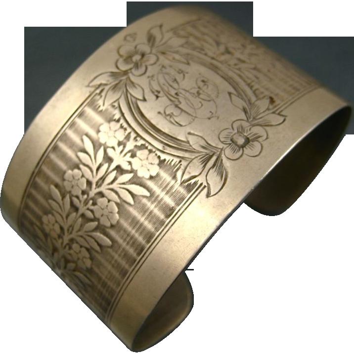 Fine Vintage French Silver Cuff Bracelet ~ c1930