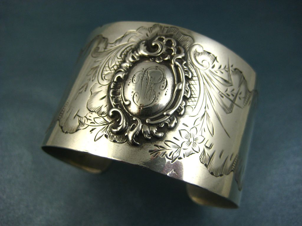 Antique French Silver Wide Cuff Bracelet  ~ c1880