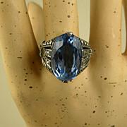 Superb Theodor Fahrner Early Art Deco Sterling London Blue Topaz & Marcasite Ring
