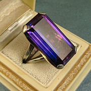 Spectacular Vintage Modernist S'Paliu Huge Rare Violet Topaz Silver Ring ~ 1960s