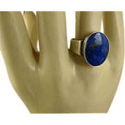 Niels Erik From Denmark Modernist Lapis Sterling Ring ~ c1960s