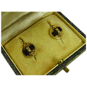 Antique French Napoleon III Dormeuses Earrings 18 k Gold, Jet & Pearl ~ c1860
