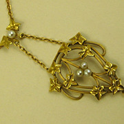 French Belle Epoque Era 18 Carat Gold Antique Repoussé Pendant Necklace ~ c1890s