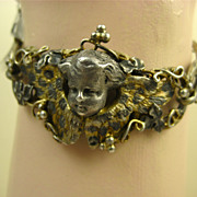 Rare French Napoléon 111 Winged Angel Silver & Vermeil Bracelet ~ c1850