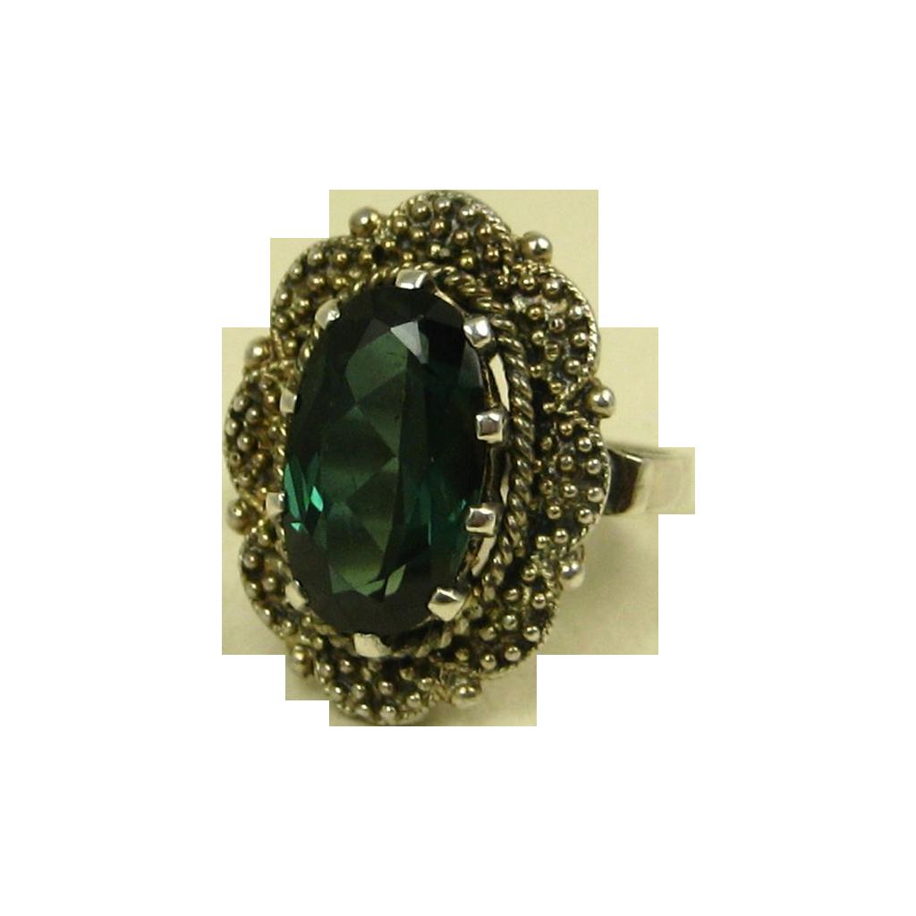 jugendstil art deco theodor fahrner vermeil sterling tourmaline ring from gildedroom on ruby lane. Black Bedroom Furniture Sets. Home Design Ideas