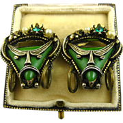 Selro Rare Superb Unsigned Pirate Earrings ~ 1950s