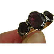 Superb Georgian Rose Gold Three Almandine Garnet Ring ~ c1820