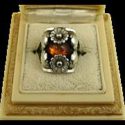 Vintage Niels Erik From Floral Sterling Silver & Amber Ring ~ c1950s