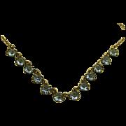 Vintage Sky Blue Crystal 800 Silver Petite Necklace ~ c1940