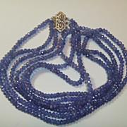 Vintage Tanzanite Necklace 14K White Gold