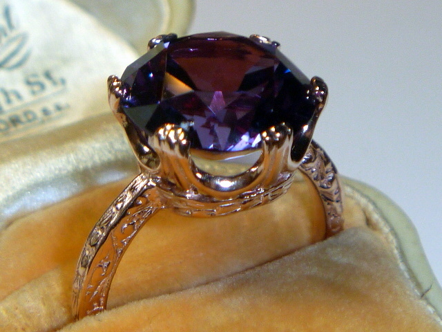 Vintage Alexandrite Amp 14 K Rose Gold Ring Sold On Ruby Lane