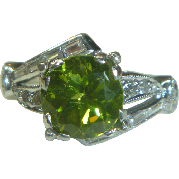 vintage peridot amp 14k white gold ring sold on ruby lane