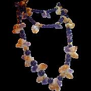 "Natural Amethyst, Citrine, Ametrine Quartz Crystal 56"" L Necklace"