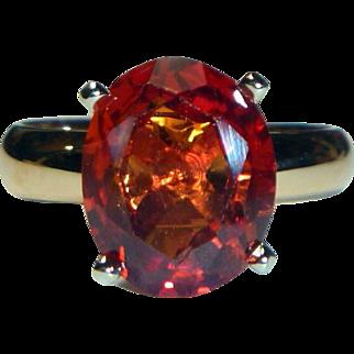 Vintage Orange Sapphire and 14K Bi-color Gold Ring