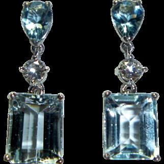 Vintage Aquamarine, Diamond and Topaz 14K Earrings