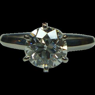 European cut 1.42 ct. Diamond & Platinum Ring