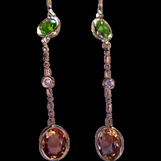 Peridot, Diamond, Citrine 14K Pendant Earrings