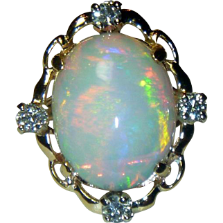 Estate Opal & Diamond 14 K Ring