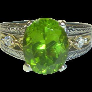 Vintage Peridot, Diamond, Platinum and 18K Ring
