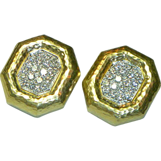 Andrew Clunn Diamond, Platinum & 18 K Earrings