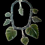 Nature's 'Green' Jade Leaf & Obsidian Necklace