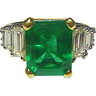 Colombian Emerald, Diamond, Platinum & 18K Ring