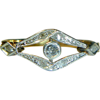 Antique Edwardian 18 K Gold & Platinum Diamond Ring