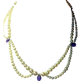 Cultured Pearl & Amethyst 14K Necklace