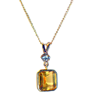 Vintage 14 K Gold Citrine & Diamond Pendant