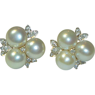 Vintage 14 K Gold Pearl & Diamond Earrings