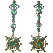Victorian Emerald and Diamond Earrings