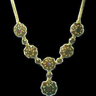 Mid-Century Italian Garnet Rosette Pendant 18 K Gold Necklace