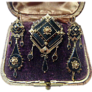 Victorian demi-parure 14K Gold, Pearl & Onyx Mourning Set