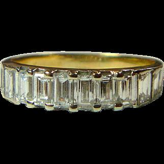 Vintage Emerald-Cut Diamond 18 K Semi-Eternity Band