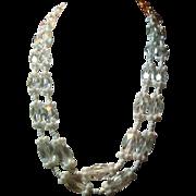 Vintage Miriam Haskell Crystal & Milk Glass Necklace