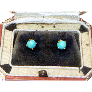 Vintage Persian Turquoise 14K Yellow Gold Earrings