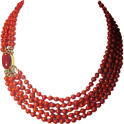 Five Strand Red Coral Italian Necklace & 14K